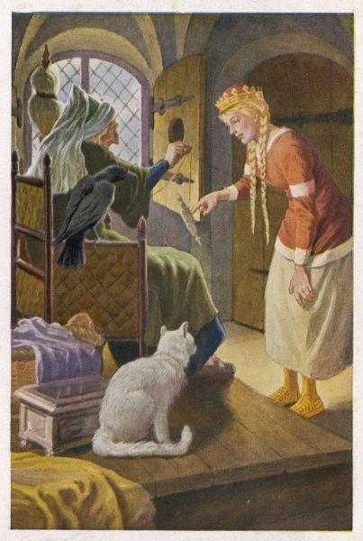 Beauty comes upon the old woman spinning in an upstairs chamber of the palace. The cat and the crow should be a warning to her that the old woman is a witch