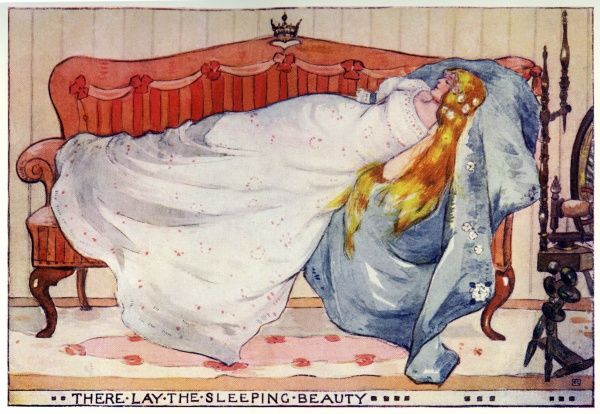 From The Sleeping Beauty by Katharine Cameron. Cameron was a Glasgow born illustrator and an associate of Jessie M King and the Mackintoshes. 1904