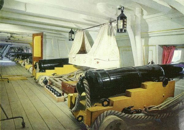 The interior of the famous H.M.S. Victory as shown for the first time in colour after its redecoration and restoration as it would have appeared at the Battle of Trafalgar in 1805