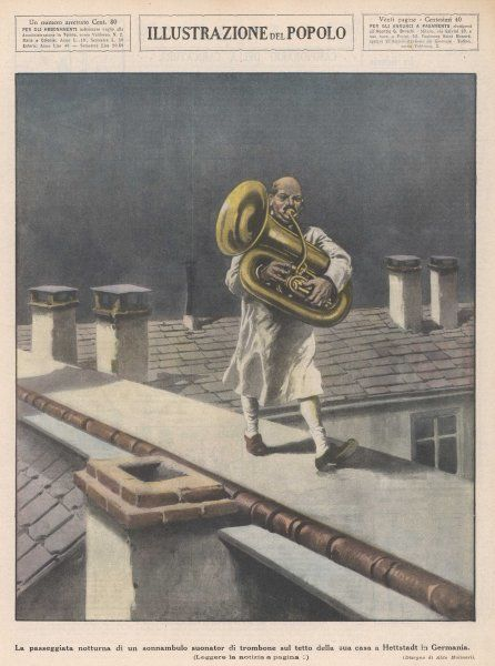 At Hettstadt, Germany, Joseph Furst, a member of the municipal band, marches playing his horn on dangerous rooftops, without coming to any harm