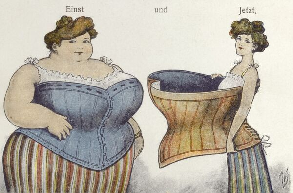 Before & After - the remarkable results of going on a diet and how it affects one's choice of corset.... circa 1909