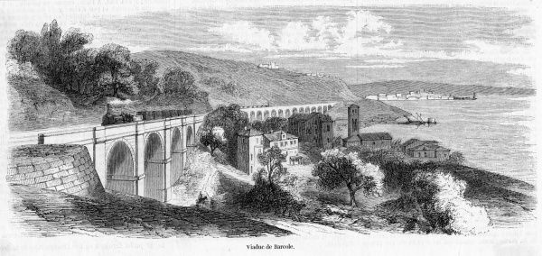 Railway viaduct of Barcole on the line from Laibach to Trieste