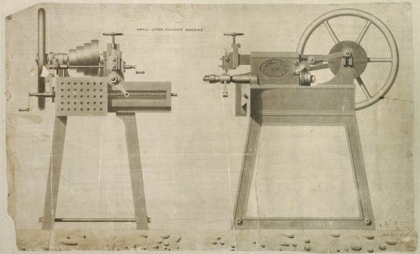 Small lever planing machine, front and side elevations Date: 1841