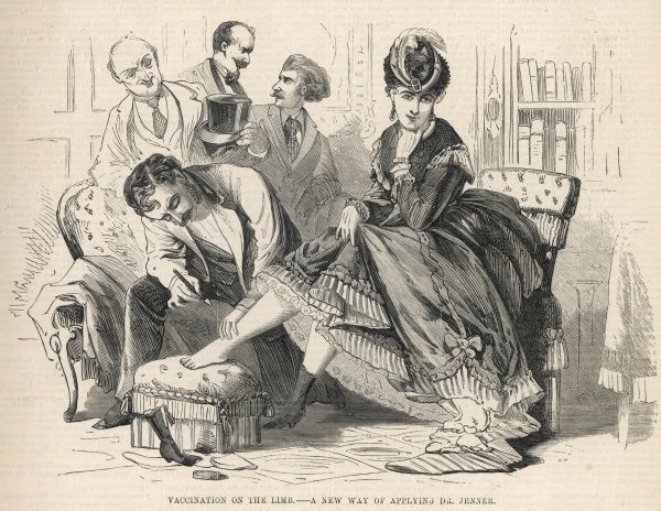 An elegant Parisian lady requests that she have the smallpox vaccination in her lower limb