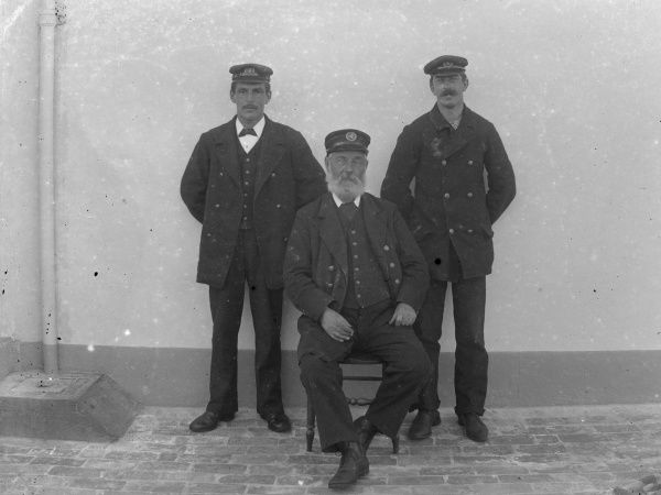 The three members of the Smalls Lighthouse crew at Solva, near Haverfordwest, Pembrokeshire, Dyfed, South Wales