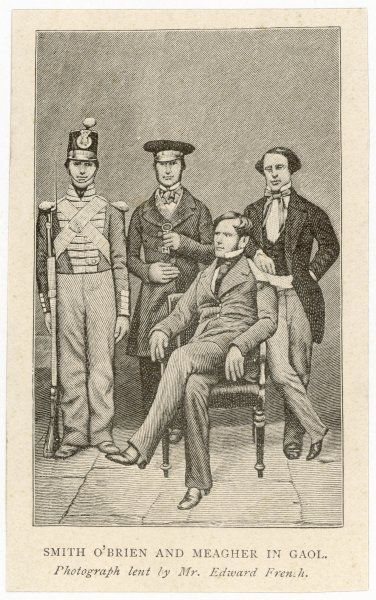 William Smith O'Brien and Thomas Francis Meagher under armed guard in gaol