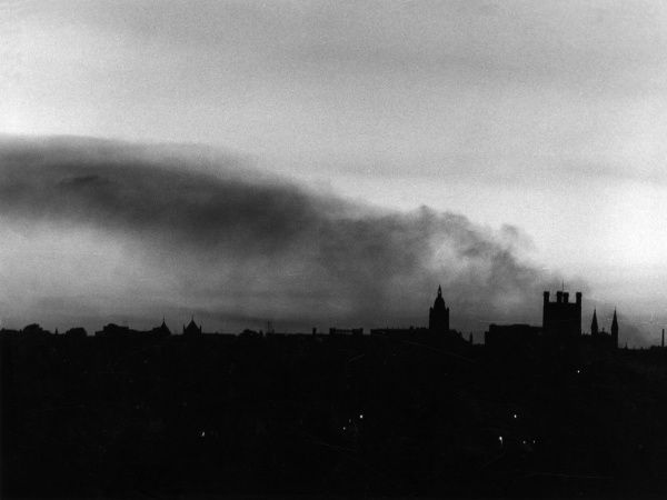 Smoke pollution over Chester, Cheshire, England. Date: 1960s