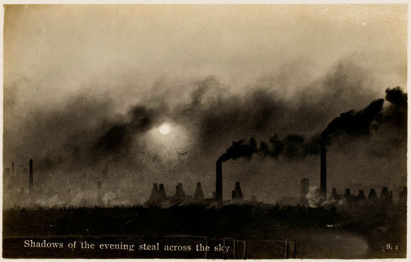 The pall of smoke from the factories of the 'Potteries' - the 'six towns' of Staffordshire where the ceramic industry is located. Date: early 20th century