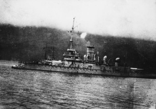 SMS Monarch, an Austrian pre-dreadnought Monarch class battleship and coastal defence ship, launched 1895, served during the early part of the First World War in the Adriatic, later used for harbour defence. Date: circa 1914-1918