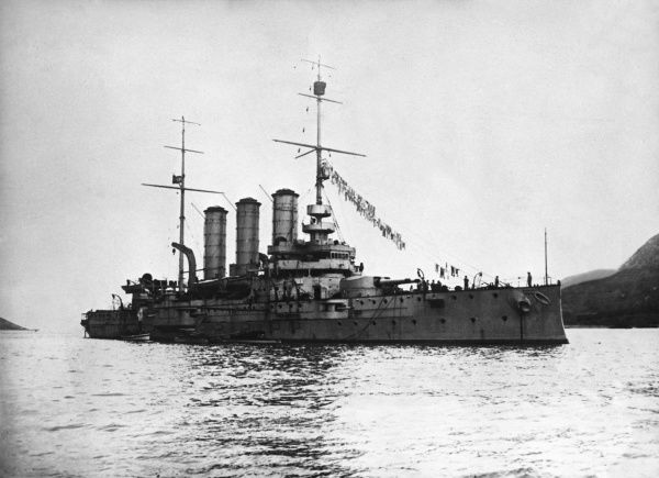 SMS Sankt Georg, an Austro-Hungarian armoured cruiser, launched 1903, in service during the First World War. Date: 1914-1918