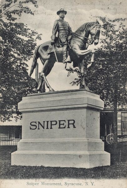 Sniper Monument at Syracuse, New Jersey, USA, erected in 1905 to honour the contributions of Civil War veteran Gustavus A. Sniper (1836-1894), a German immigrant