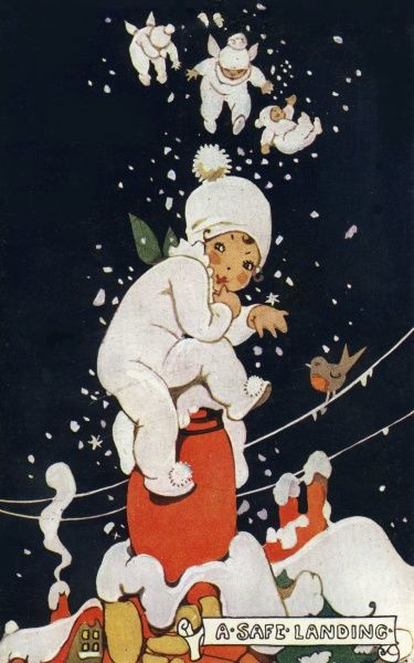 A snow baby, which has tumbled from the sky as it snows, lands safely on the chimney pot of a snow covered roof top