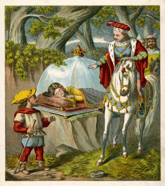 Snow White, presumed dead having eaten the poisoned apple given to her by her wicked stepmother, is admired by a handsome prince whilst she sleeps in a glass case