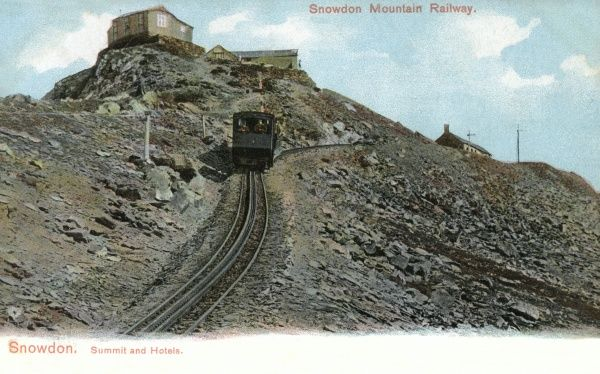 The easiest way to the summit of Snowdon, Wales's highest mountain, is to take the mountain railway. There are hotels when you get there. Date: 1908