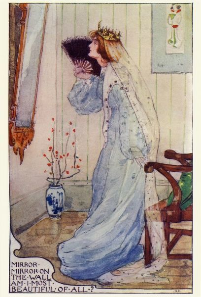 Snowdrop (or Snow White) by Katharine Cameron. The wicked Queen gazes in the magic mirror and asks who is the fairest one of all. Cameron was a Glasgow born illustrator and an associate of Jessie M King and the Mackintoshes. 1904