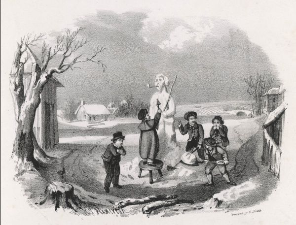 A very early lithograph showing boys building a snowman