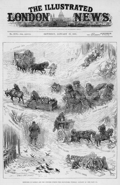 Sketches in London and the suburbs during the snowstorm of the 18th January 1881 showing coaches and people stuck in the drifts