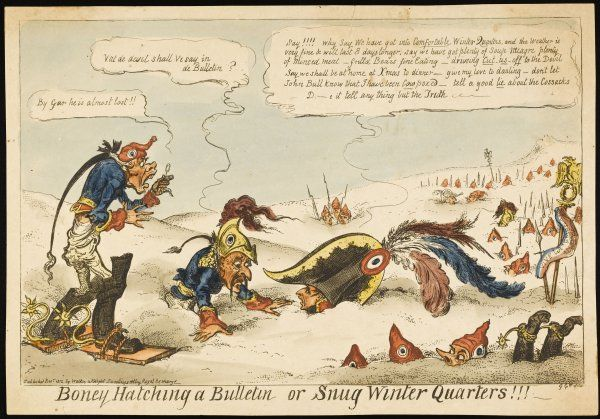 'Snug Winter Quarters' a comment on Napoleon's claim that weather conditions favour his strategy in Russia