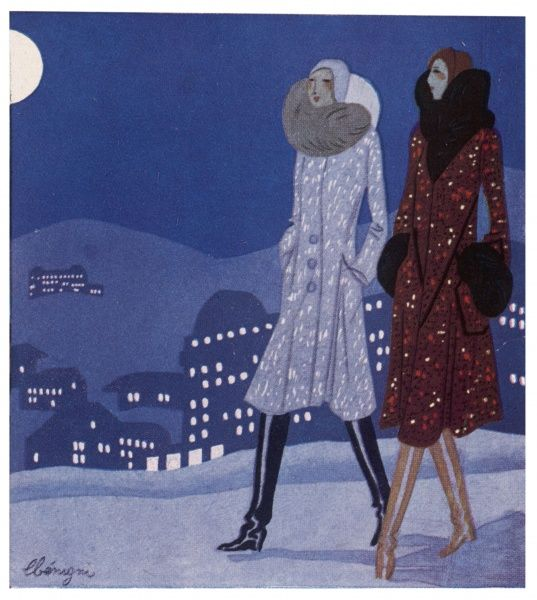 Two fashionably dressed women walking in the snow