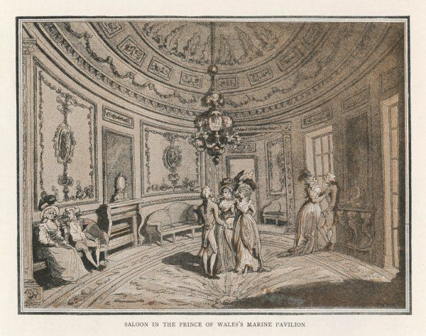 People in the Oval Saloon at Brighton Pavilion, Sussex