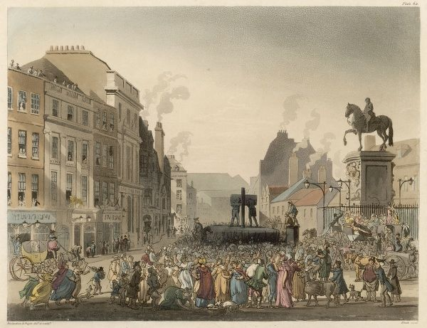 A crowd gathers at the Pillory, Charing Cross