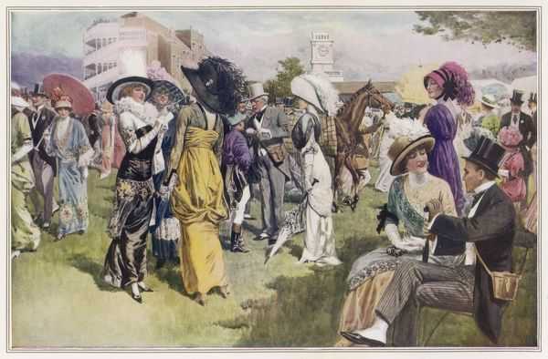 Society ladies in Ascot fashions: hobble skirts & panniers, tunic dresses, a loose fitting kimono style dress with oriental embroidery. N.B unfashionably large hats!