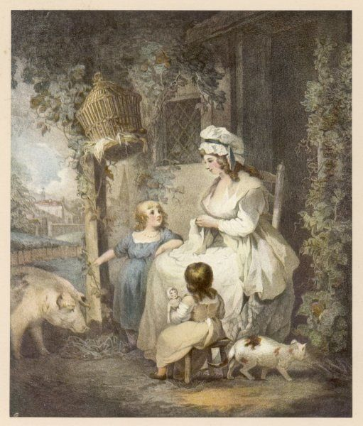 A charming farmer's wife dressed unsuitably in white wears a quilted petticoat & white mob cap. Her children wear loose frocks or a separate bodice, shift & skirt