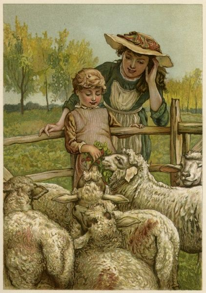A little boy with his mother feeds the sheep Date: circa 1890