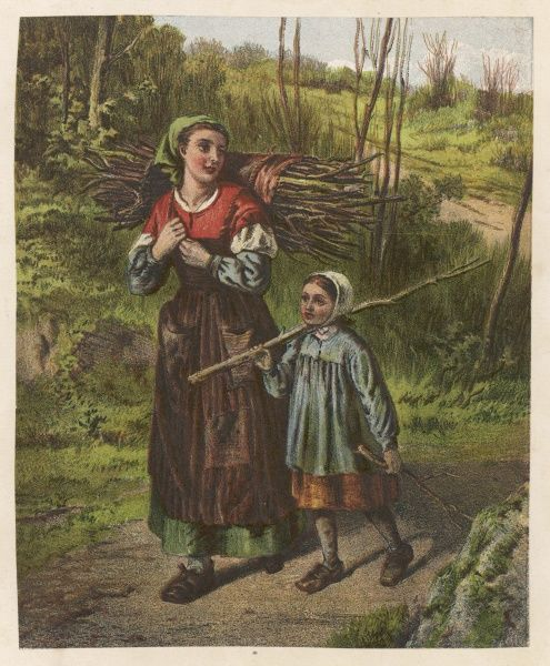 A woman and a little girl bring home some firewood