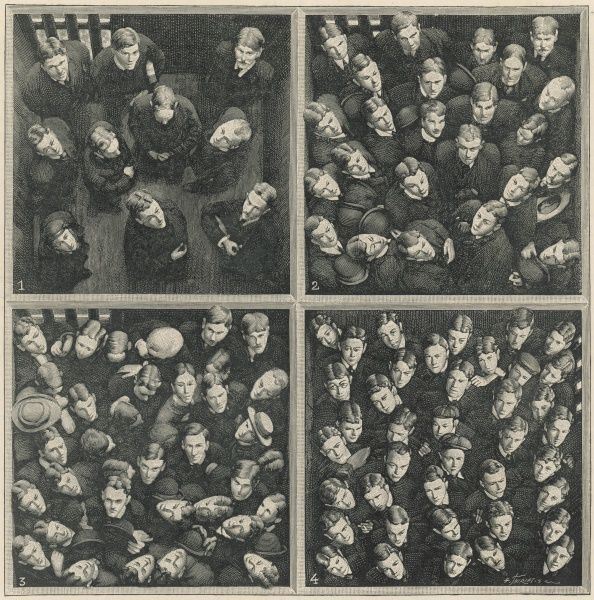 Series of engravings, based on four photographs showing how space is filled by a growing crowd