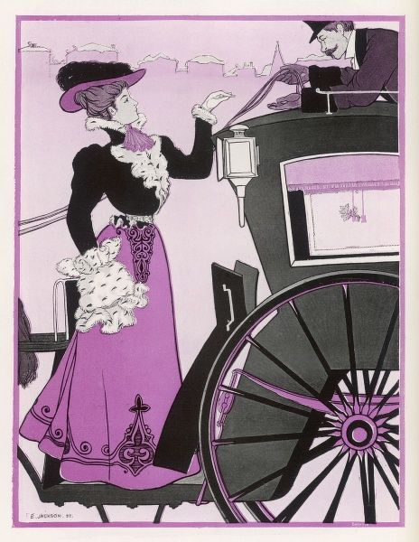 A handsome fare gives a handsome tip to the handsome driver of a hansom cab