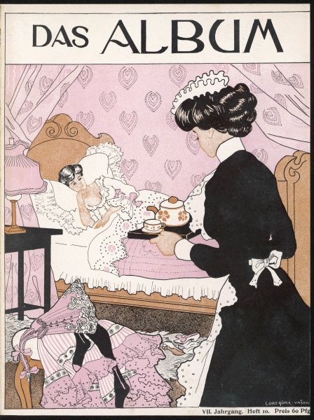 A maid brings an early pot of tea to her mistress as she lies in bed
