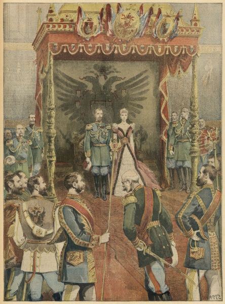 Tsar Alexander III and the Tsarina preside at the Russian court on New Year's Day