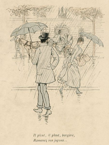 A rainy Paris street: a gentleman with his trousers rolled up notices a lady holding up her skirts