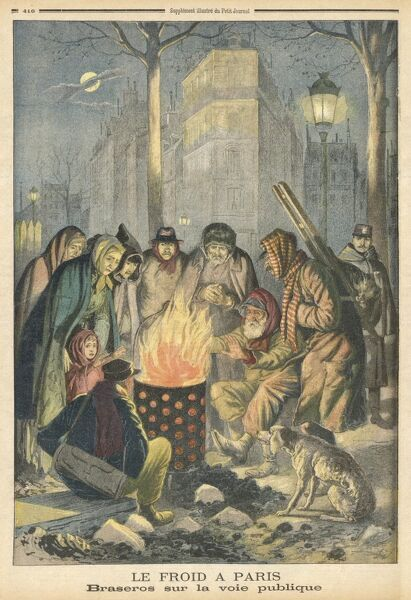 Street people and workers gather round a brazier in the streets of Paris : a policeman on his rounds would like to join them
