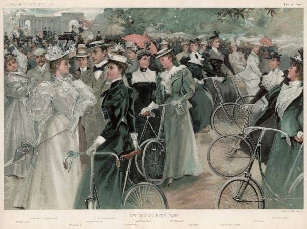 Fashionable cyclists in Hyde Park
