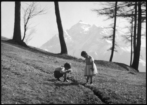Two young children collect flowers on the high slopes of a mountain in Romania