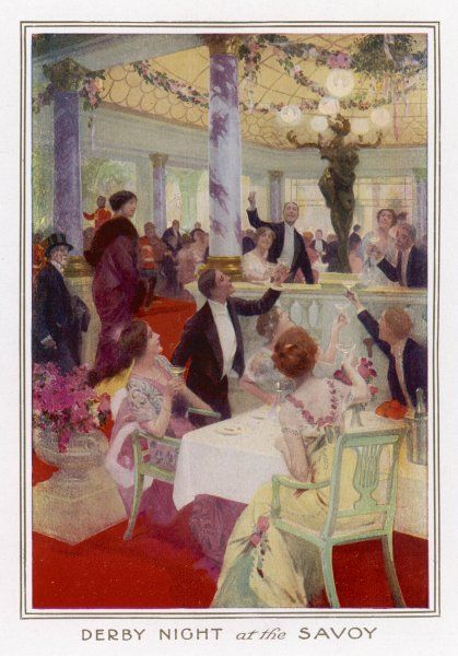 After the races: Derby night at the Savoy Hotel, London - those who have won, celebrate with champagne; those who have lost, drown their grief in the same beverage