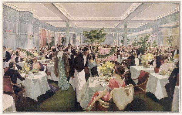 Society's playgoers enjoy supper after the theatre at the Savoy Hotel, London