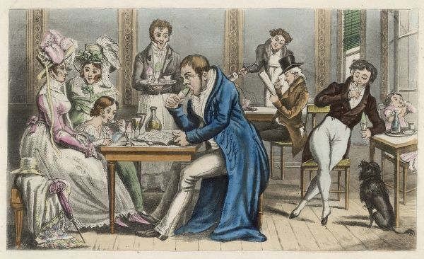 The British in Paris after the defeat of Napoleon : John Bull and his family at an ice cafe Date: 1815
