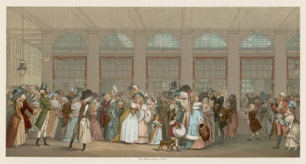 The fashionable crowd meeting and gossiping in the 'Galerie de Bois' of the Palais-Royal, Paris