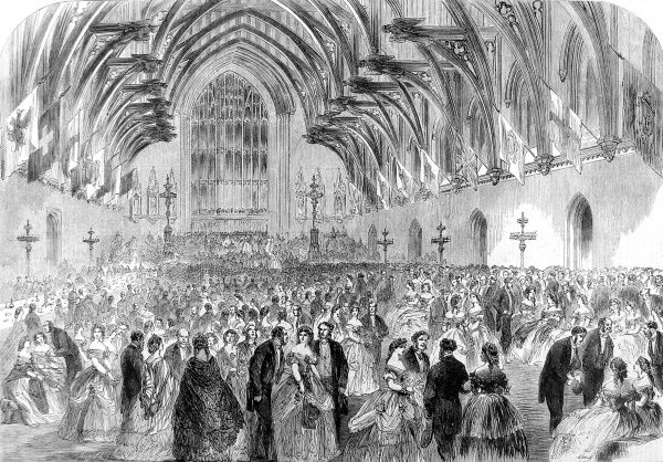 Engraving showing a formal evening event of the Social Science Association, Westminster Hall, London, 1862