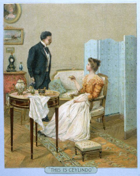 A young couple in their drawing room settle down for afternoon tea for two
