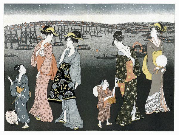 Night fete at Yedo (Tokyo) - ladies and their children go to join the revellers, one carrying a lantern