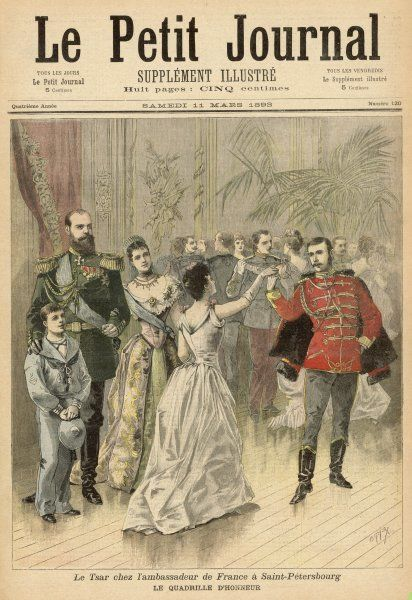 Tsar Alexander III and the Tsarina watch the Quadrille d'Honneur at a ball at the French Embassy, St Petersburg