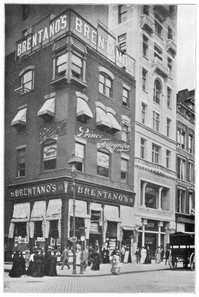 People at the corner of Union Square and 16th Street, New York, showing Brentano's book shop
