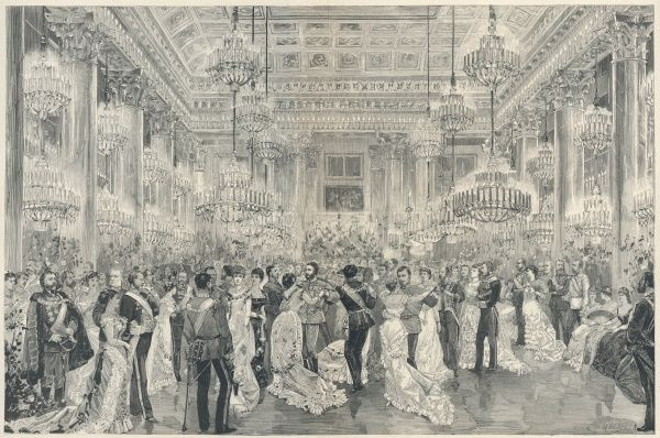 A court ball at the Imperial Palace, Vienna, on the occasion of the marriage of the (ill-fated) Crown Prince Rudolf to the unfortunate princess Stephanie