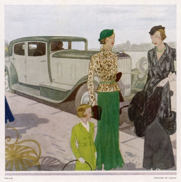 A lady and her child leave their Delage and walk along the pavement until they stop and talk with a friend