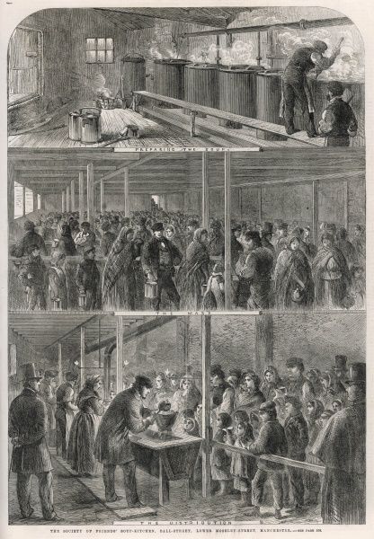 This illustration in three panel shows the preparation of the soup, the mass of people waiting to receive some and the distribution of the soup