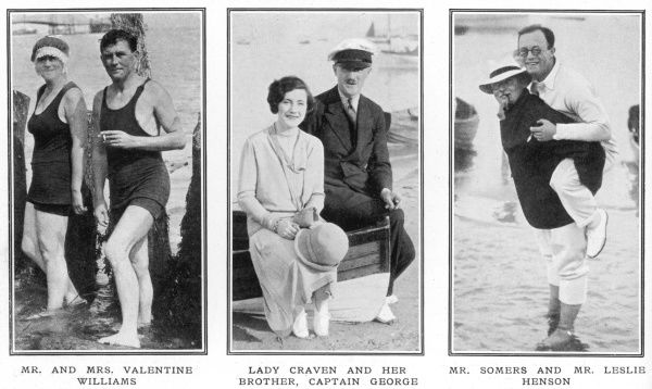 Society people at Seaview on the Isle of Wight. Mr Valentine Williams, the writer, with his wife, formerly Miss Alice Crawford; Lady Craven and her twin brother, Captain George; and Mr Leslie Henson carried ashore by his host Mr Somers